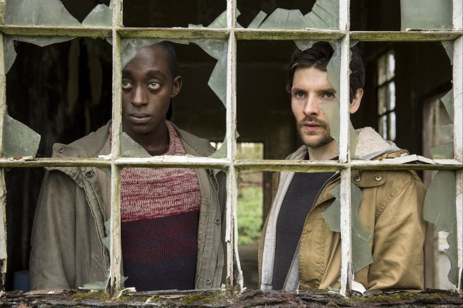 L- R Max (Ivanno Jeremiah) and Leo (Colin Morgan)
