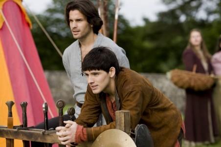 """MERLIN -- """"Lancelot"""" Episode 1.5 -- Pictured: (l-r) Santiago Cabrera as Lancelot, Colin Morgan as Merlin -- NBC Photo: Nick Briggs"""