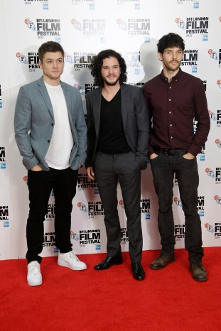 Actors Taron Egerton, Kit Harrington and Colin Morgan pose for photographers at the photo call for the film Testament of Youth, in London, Tuesday, Oct. 14, 2014. (Photo by Joel Ryan/Invision/AP)