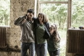 L-R Leo (Colin Morgan), Hester (Sonya Cassidy) and Mattie (Lucy Carless)